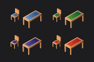 Isometric Chair and Table